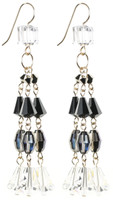 These impressive Crystal earrings have 3 strands of rare Swarovski Crystal to create a shoulder duster/ chandelier style earring