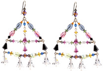 Bright Colorful Crystal Chandelier Earrings. These Swarovski Crystal Earrings are Hand made in NYC by The Karen Curtis Company.