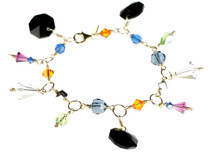 Colorful crystal charm bracelet from the gypsy jewelry collection