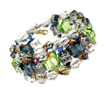 Multi colored Swarovski Crystal Cuff Bracelet, made in NYC by The Karen Curtis Jewelry Company.