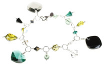 Green, yellow and black Swarovski Crystal charm bracelet made by the Karen Curtis Company in NYC
