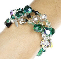 Green and Black Swarovski Crystal bangle bracelet made in NYC by the Karen Curtis Jewelry Company
