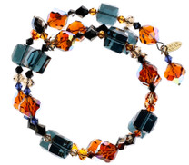 Swarovski Crystal bangle bracelet made with blue and orange Crystal