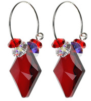 Ruby Red Swarovski Crystal Hoop Earrings on Sterling Silver Ear Wire by The Karen Curtis Company in NYC