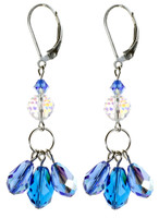 Blue Dangle Earrings. Crystal Jewelry Created in NYC by Karen Curtis