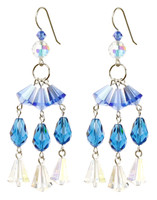Chandelier Earrings with Vintage Blue Crystal