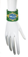 Brazilian flag jewelry over 500 crystals from swarovski are used to create this beautiful cuff bracelet