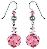 Rose Pink Earrings made with Crystals from Swarovski. Karen Curtis NYC