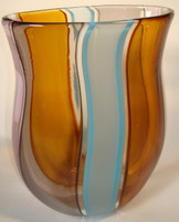 one of a kind hand blown, cane worked vase in golden browns, opal blue, grey, and light amythest