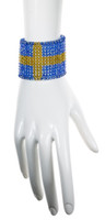 Wide crystal cuff bracelet with the flag of Sweden design made entirely with highest quality Swarovski beads