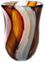 Hand blown glass vase made of colored cane in a sexy oval shape