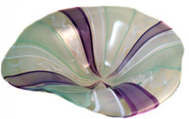 Colored hand blown glass floppy bowl in mint, white, purple and twisted white cane