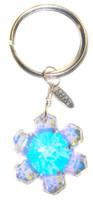 swarovski crystal snowflake key ring on sterling silver