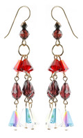 Red and Garnet Swarovski Crystal Earrings made with Vintage Crystal in NYC by Karen Curtis.