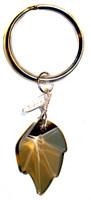 golden teak STRASS SWAROVSKI crystal on sterling silver key ring