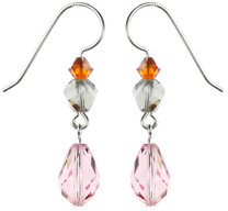 Single Pink Crystal Dangle Earrings