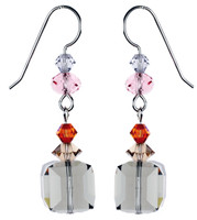 Black Diamond Cube Crystal Earrings