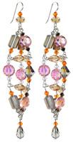 Long Elegant Gold & Pink Statement Earrings