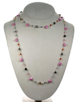 "36"" Vintage Pink Crystal Strand Necklace"