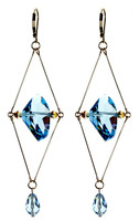Deco Style Blue Crystal Earrings - Tiffany