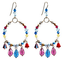 Colorful Loop Earrings w Drops - Tiffany