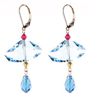 Abstract Blue Crystal Earrings - Tiffany