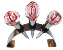 Set of 3 hand blown glass wine stoppers with modern stainless Steel stand beautiful for display.