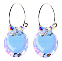 Clear Crystal Hoop Earrings - April Birthstone