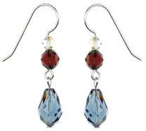 Blue Crystal Dangle Earrings - Botanical Jewelry