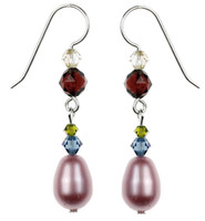 Pink Satin Pearl Dangle Earrings - Botanical Jewelry
