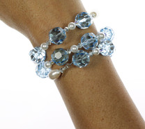 Hand made using SWAROVSKI ELEMENTS. Bangle bracelet on memory wire to comfortably coil around wrist