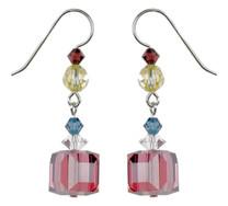 Satin Rose Cube Crystal Earrings - Botanical