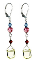 Colorful Emerald Cut Crystal Earrings - Botanical