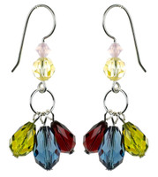 Colored Crystal Dangle Earrings - Botanical Jewlery