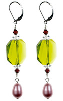 Lime Yellow & Pink Pearl Earrings - Botanical Jewelry