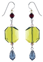 Lime Yellow and Blue Statement Earrings