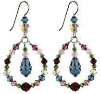 Hoop Earrings with Blue Droplet Crystal - Botanical