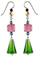 Vintage Vivid Green Crystal Earrings - Botanical