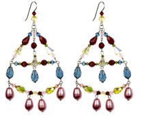 Big Crystal Chandelier Earrings - Botanical