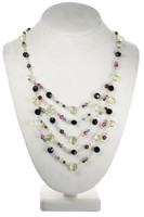 Colored Crystal Layer Necklace - Botanical Jewelry