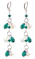 Emerald Green Shoulder Duster Earrings - May Birthstone