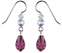 Purple, Blue, & Clear Dangle Earrings - Seaside