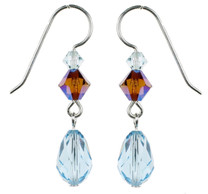 Aqua Blue Crystal Dangle Earrings - Seaside Jewelry