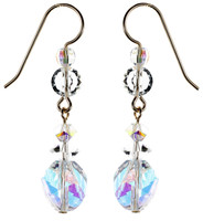 Sterling Silver Drop Crystal Earrings - April