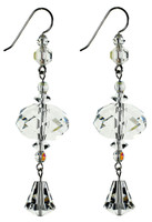 Clear Crystal & Ab Statement Earrings - Sterling Silver - April