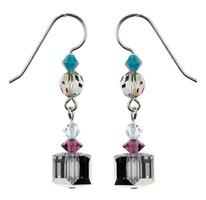Silver Crystal Square Earrings - Seaside Jewelry
