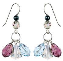 Purple and Aqua Blue Crystal Earrings by Karen Curtis