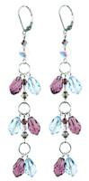 Long Elegant Crystal Earrings with Aqua Blue and Purple Amethyst.