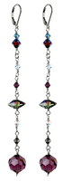 Long Shoulder Duster Earrings made with Purple Swarovski Crystal and Silver.