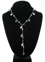 Handmade with SWAROVSKI ELEMENTS, can also be worn as a Y necklace. Crystal drops date back to the 1930's.